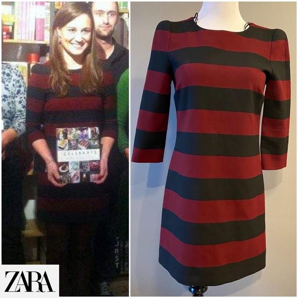 Zara Dresses   Burgundy Black Striped Dress Pippa Middleton   Poshmark